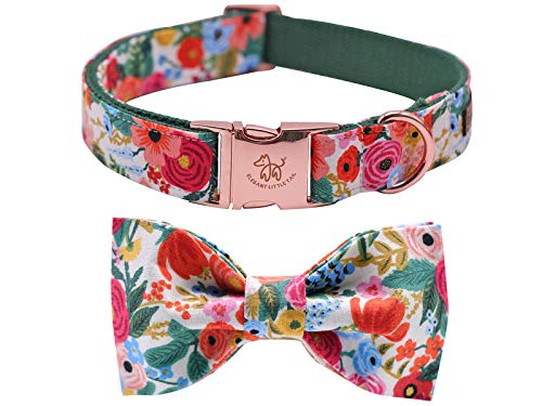 Elegant little tail Dog Collar with Bow, Cotton & Webbing, Bowtie Dog Collar, Adjustable Dog Collars for Small Medium Large Dogs and Cats
