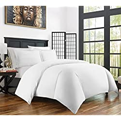 Zen Bamboo Ultra Soft 3-Piece Bamboo Derived Rayon Duvet Cover Set - Hypoallergenic and Wrinkle Resistant - Full/Queen - White