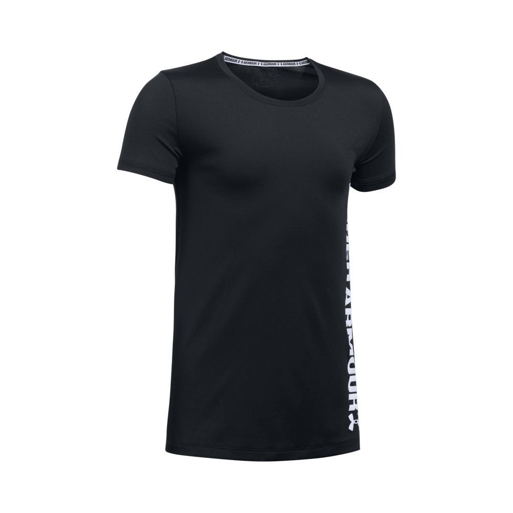 Under Armour Girls' Armour Short Sleeve,Black /White, Youth X-Small