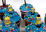 12 Piece Minikin MINION Birthday Cupcake Topper Set Featuring Random Despicable Me Minion Figures and Decorative Themed Accessories