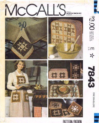 - McCall's 7843 Sewing Pattern Patchwork Apron Tablecloth Potholder Appliance Covers