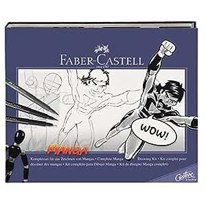 Faber-Castell 167136 - Estuche de iniciación al manga, incluye instrucciones, set de rotuladores y lápices de dibujo y maniquí