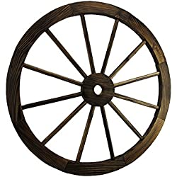 Wood Wall Sculptures Wooden Wagon Wheel Decorative Wall Hanging Room Decor 24 X 24 X 1 Inches Brown