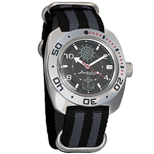 Vostok Amphibian Automatic Mens Wristwatch Self-Winding Military Diver Amphibia Case Wrist Watch #710526 (Black+Grey)