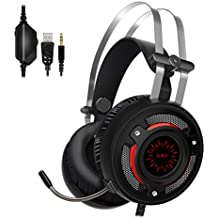 Gaming Headset for PS4 PC Xbox One, ALWUP Over Ear Wired Stereo Headphones with Mic, Bass Surround, LED Light, Soft Memory Earmuffs for Mac Laptop Nintendo Switch iPad Tablet Smartphones (Black)