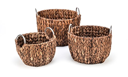 Trademark Innovations Set of 3 Round Hyacinth Baskets with Stainless Steel Handles-Rich Chocolate Finish