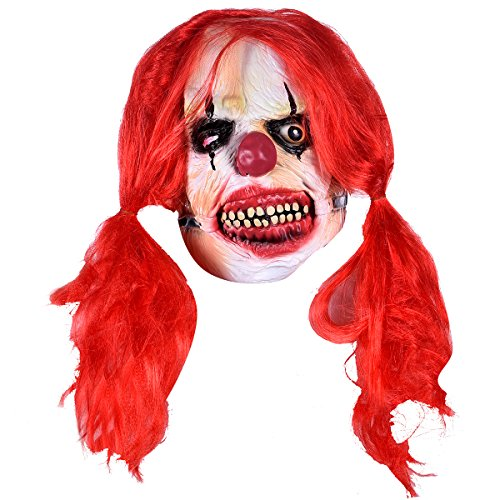 Halloween Latex Scary Creepy Clown Mask Adults Masquerade Costume Horror Party Props Red Hair Costume Masks - Creepy Clown Adult Costumes