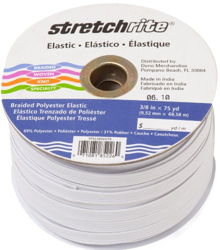 TE StretchRite 3/8-Inch by 75-Yard White Polyester Braided Elastic Roll ()