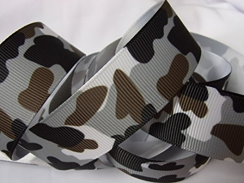 Grosgrain Ribbon - Grey, Black & Brown Camouflage