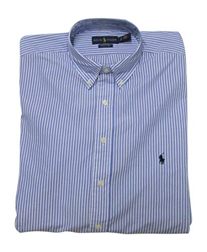 Polo Ralph Lauren Men's Big and Tall Long Sleeves Classic Fit Poplin Buttondown Shirt (4XLT, BluMultiStrip) - Sleeved Fit Classic Long
