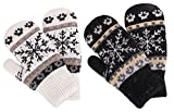 Fleece Lined Mittens Women's Winter Knit Sherpa Lined Gloves,2 Set,Black/White