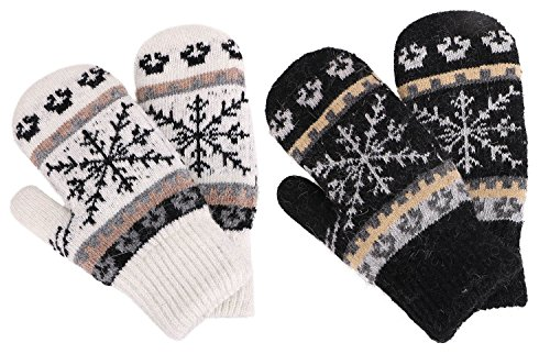 Women's Winter Knit Sherpa Lined Gloves,2 Set,Black/White ()