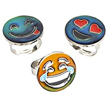 Expression Jewelry Assorted Emoji Face Rings with Adjustable Bands - Assorted Smiley Emoticon Rings