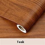 Wood grain Home Decor Furniture Vinyl Wrap Waterproof Wall Sticker Self Adhesive PVC Wallpaper Kitchen Desk Door Teak 60cmX3m