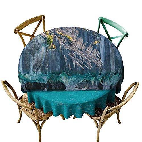 SKDSArts Tablecloth Round Turquoise,Marble Caves of Lake General Carrera Chile South American Natural,Turquoise Purplegrey Green D36,Round ()