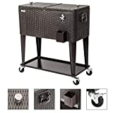 VINGLI 80 Quart Rolling Ice Chest on Wheels, Portable Patio Party Bar Drink Cooler Cart, Stainless Steel with Shelf, Beverage Pool with Bottle Opener and Cover … (Rattan)