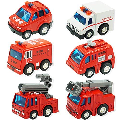 CorperおもちゃFire Engine Truck Mini Pullback Vehicles Toys Fire Rescue Set For Kids Toddlers Boys Firetrucks – 6ピース