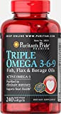 Puritan's Pride Triple Omega 3-6-9 Fish, Flax, and Borage Oils, Active Omega-3 Supplement Purified to Eliminate Mercury, 240 Rapid Release Softgels For Sale