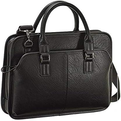 平野鞄 ビジネスバッグ ショルダーバッグ カジュアルバッグ A4 合皮 横型 ビジネス 通勤 2way 黒 ブラック 横幅34cm +オリジナル高級ムートングローブ