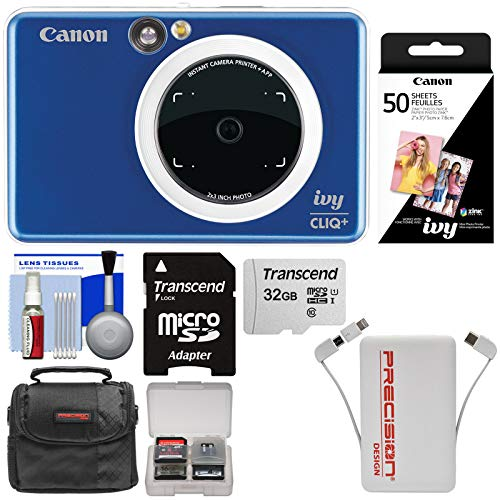 - Canon Ivy Cliq+ Instant Digital Camera Printer & App via Bluetooth (Sapphire Blue) with 32GB Card + 50 Color Prints + Case + Power Bank Charger + Kit