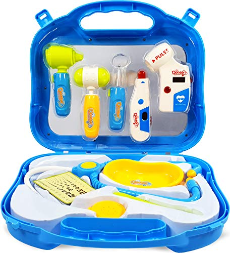 Chad Lad Doctor Medical Play Set Doctor Medical Equipment Kids Toy Pretend Play Medical Toy Role Play Nurse Dentist Medical Toy Set with Case Gift Doctors Kit Toys Boys and Girls