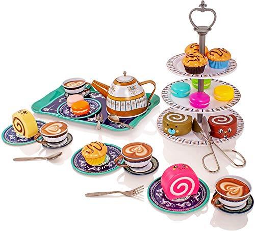 Milly & Ted - Teaset para te, para 4 Personas, para 4 Personas - Juego de te para ninos, metalico - Juego de simulacion Food Biscuits