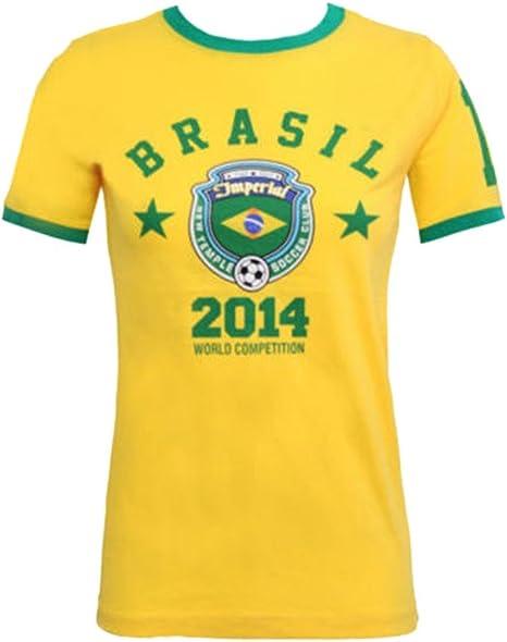 Moda 4 Menos Nuevo Mujer Copa del Mundo 2014 impreso Top Nacional Fútbol Camiseta (UK-14, Brasil amarillo): Amazon.es: Ropa y accesorios