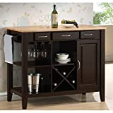 Coaster 910028 Kitchen Cart with Three Drawers Stemware Rack Open Storage and Wine Bottle Holder in Natural & Cappuccino For Sale