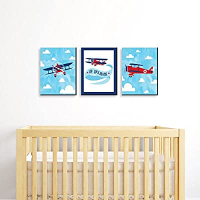"Taking Flight - Airplane - Vintage Plane Baby Boy Nursery Wall Art & Kids Room Decor - 7.5"" x 10"" - Set of 3 Prints"
