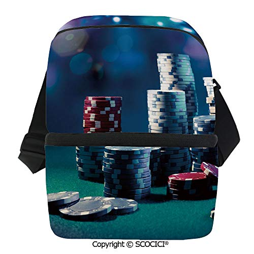 SCOCICI Reusable Insulated Grocery Bags Gaming Table with Poker Chips Dramatic Display Vegas Leisure Decorative Thermal Cooler Waterproof Zipper Closure Keeps Food Hot Or Cold -