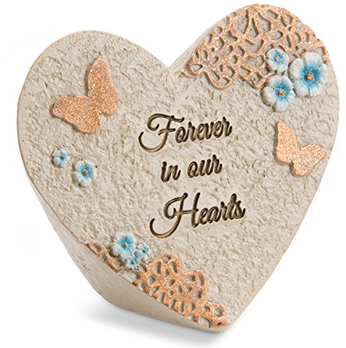 Pavilion Gift Company Light Your Way Memorial - Forever In Our Hearts Memorial Heart Rock, Solid (Picture Memorial Candles)