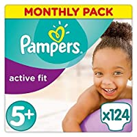 Pampers Active Fit 124 Nappies with Absorbing Channels, 13-25 kg, Size 5+