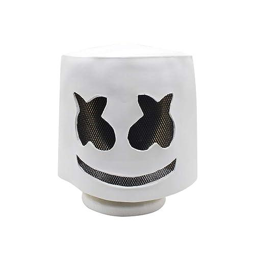 BESTOYARD Zombie Mask Electronic Syllables Marshmallow DJ Headgear Marshmello Hood Scary Horror Zombie Mask(White