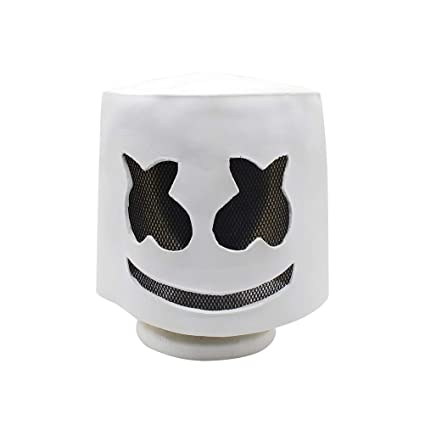 BESTOYARD Zombie Mask Electronic Syllables Marshmallow DJ Headgear Marshmello Hood Scary Horror Zombie Mask(White