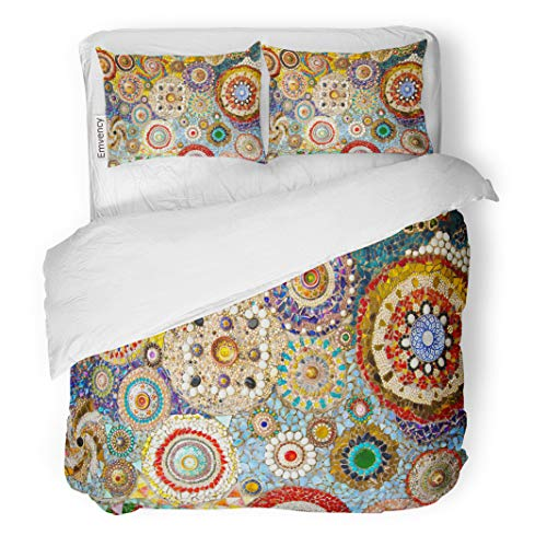 Semtomn Decor Duvet Cover Set Twin Size Blue Abstract Colorful of Rocks Green Artistic Band Blank 3 Piece Brushed Microfiber Fabric Print Bedding Set Cover]()