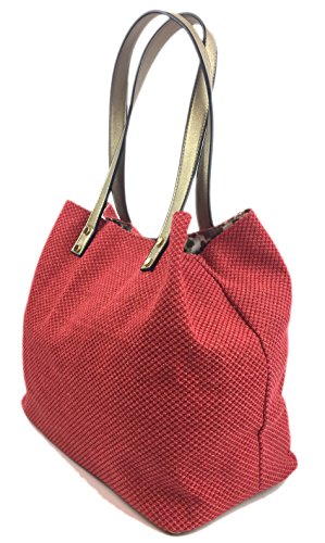 Print Bag Coral Glitter with Red Colours Summer Lovely Expanding Bag Zips Summer and Tote with SURF Waves Large Comfortable Soft Beach Straw in Canvas Shopper Bag Handles Designer Canvas Glitter in qwBfZt