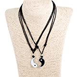 Yin Yang Pendant Couple Set on Adjustable Black Rope Cord Necklaces