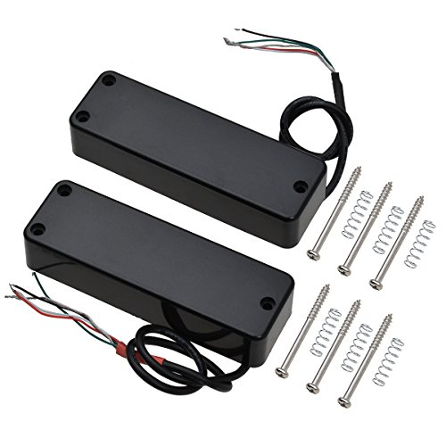 Kmise 4 String Electric Bass Guitar Pickups Humbucker Double Coil Bridge and Neck Set Black