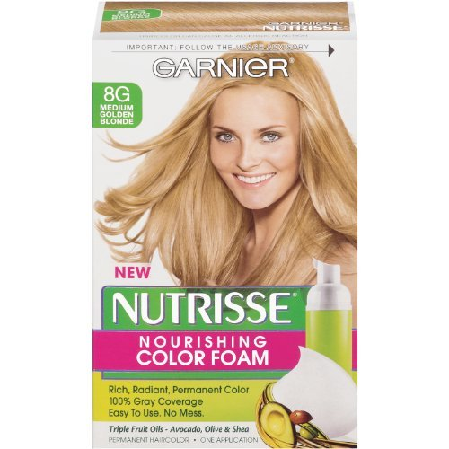 Garnier Nutrisse Nourishing Color Foam, Medium Golden Blonde (Pack of 3) ()
