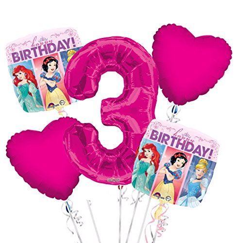Princess Balloon Bouquet 3rd Birthday 5 pcs - Party Supplies