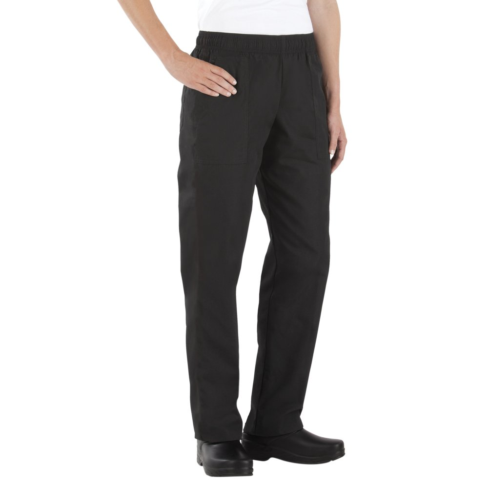 Happy Chef Women's Poly/Cotton Chef Pants (Black, Small) by Happy Chef