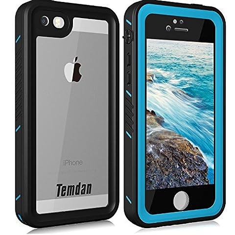 Temdan iPhone SE/5S/5 Waterproof Case with Kickstand Shockproof Waterproof Case for iPhone SE/5S/5 (Blue Waterproof Iphone Case)