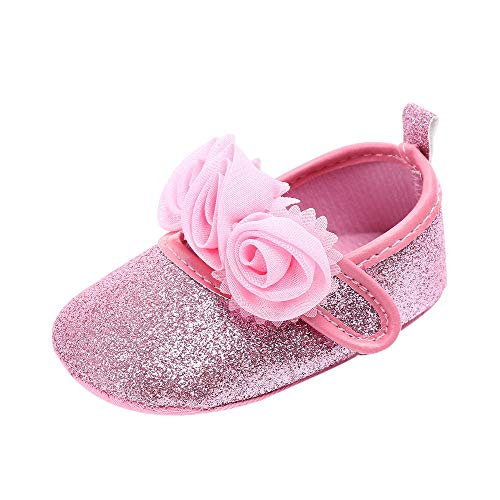 Bow Trimmed Knit Dress - Baby Sneakers - Infant Boys Girls Non-Slip Soft Soled Toddler First Walkers Floral Bling Crib Shoes (Pink, 12-15Months)