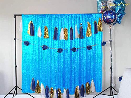 ShinyBeauty Sequin Backdrop-Aqua Blue 10FTx20FT Sequin Photo Backdrop,Photo Booth Background,Sequence Christmas Backdrop Curtain (10FTx20FT, Aqua Blue) by ShinyBeauty (Image #6)