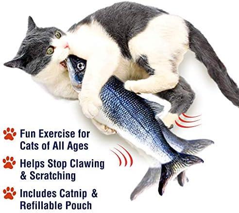 Ontel Flippity Fish Cat Toy, flops y menea como un pez real, incluye caña de pescar y catnip 6