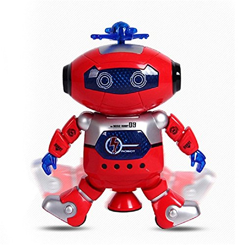 Electronic Learning Toys Interactive Bump-N-Go Bubble and Flashing Play Vehicles and Transportation (Red Dancing Robot)