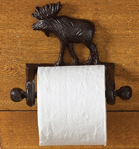 Park Designs Cast Moose Toilet Paper Holder, Brown, 5.5