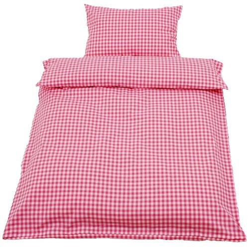 Bettwäsche, Karo 1x1 cm, 100x135 40x60 cm, Baumwolle, Kinderbettwäsche, kariert, Landhaus, gewebt | Rosa
