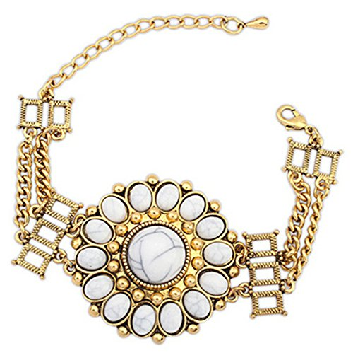 LUNA Womens Girls Bohemian National Alloy Chains Links Bracelet Bangle Jewelry 9 Inches Beige