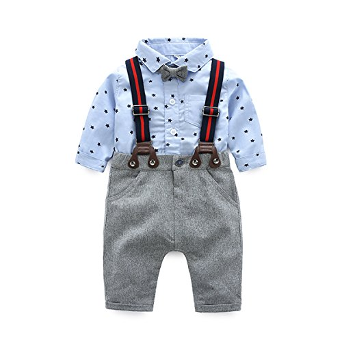 Boarnseorl Newborn Baby Boys Long Sleeve Onesie + Bib Overalls + Suspenders+Bowtie Clothing Set, Toddler Infant Pants Outfit (Shorts Onesie With)